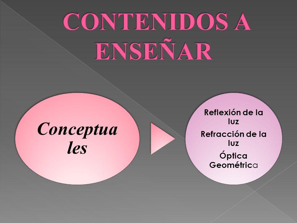 CONTENIDOS A ENSEÑAR Conceptuales Óptica Geométrica