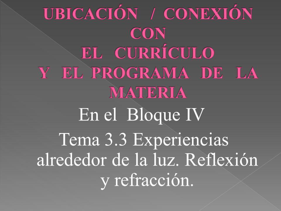 UBICACIÓN / CONEXIÓN CON EL CURRÍCULO Y EL PROGRAMA DE LA MATERIA