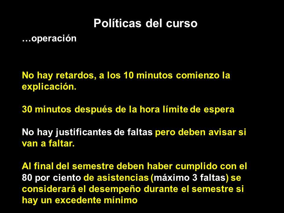 Políticas del curso …operación