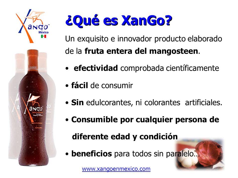 ¿Qué es XanGo Un exquisito e innovador producto elaborado de la fruta entera del mangosteen. efectividad comprobada científicamente.