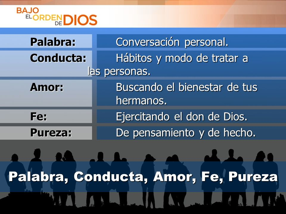 Palabra, Conducta, Amor, Fe, Pureza