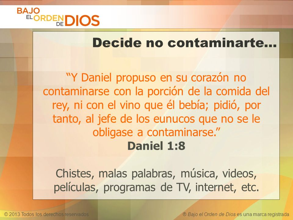 Decide no contaminarte…