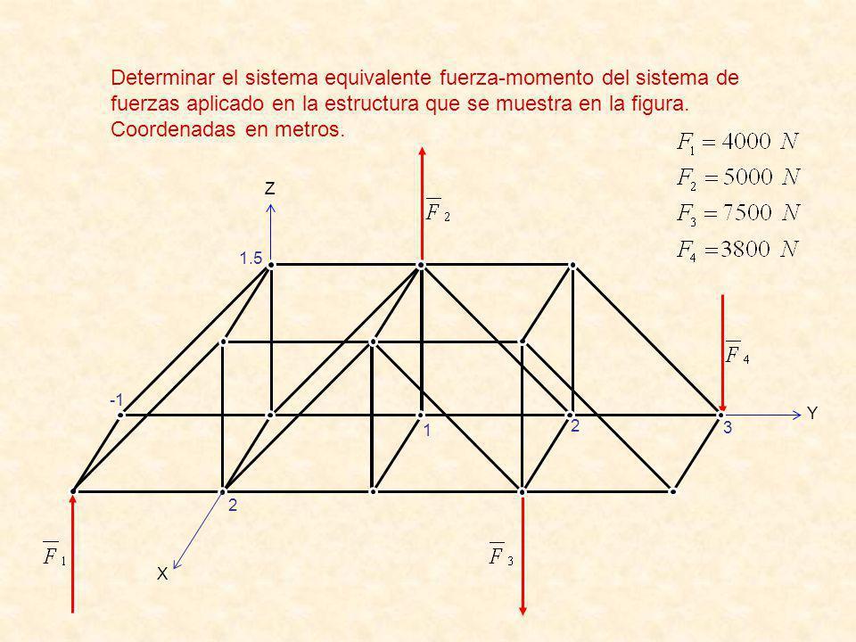 Determinar el sistema equivalente fuerza-momento del sistema de fuerzas aplicado en la estructura que se muestra en la figura.