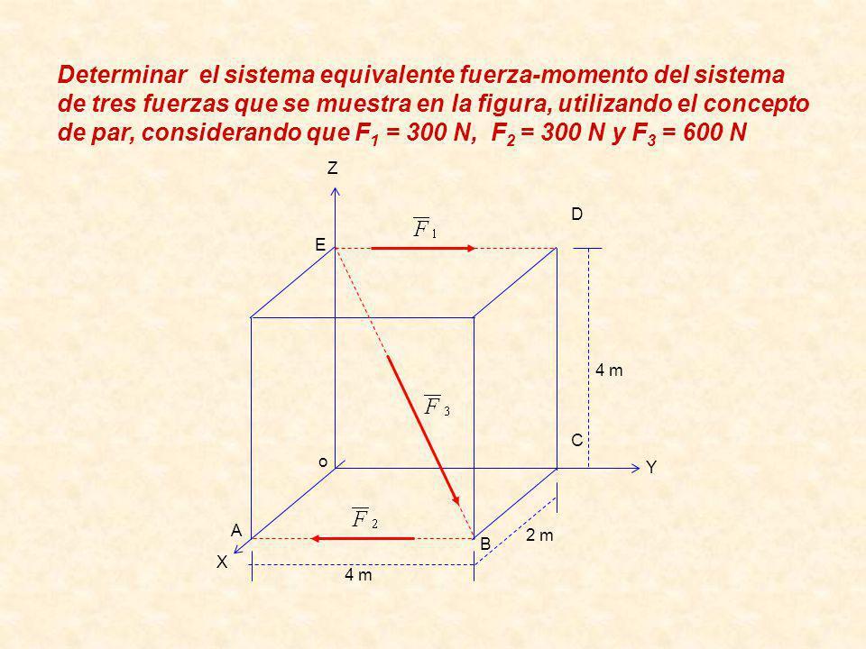 Determinar el sistema equivalente fuerza-momento del sistema de tres fuerzas que se muestra en la figura, utilizando el concepto de par, considerando que F1 = 300 N, F2 = 300 N y F3 = 600 N