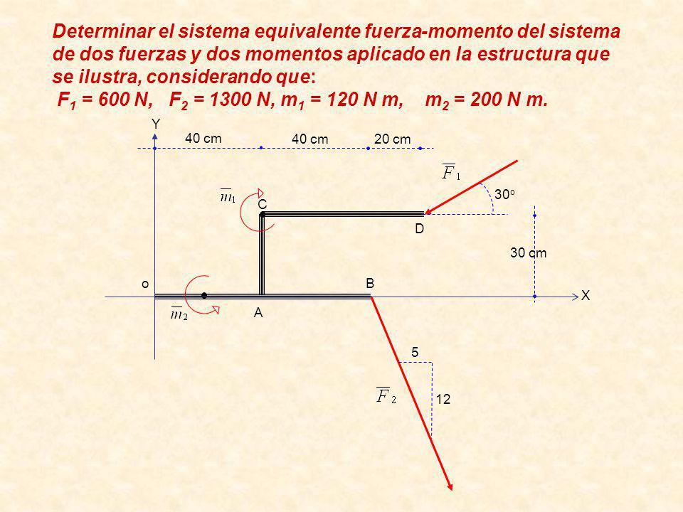 Determinar el sistema equivalente fuerza-momento del sistema de dos fuerzas y dos momentos aplicado en la estructura que se ilustra, considerando que: