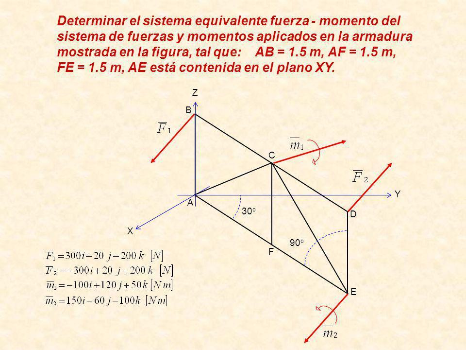 Determinar el sistema equivalente fuerza - momento del sistema de fuerzas y momentos aplicados en la armadura mostrada en la figura, tal que: AB = 1.5 m, AF = 1.5 m, FE = 1.5 m, AE está contenida en el plano XY.