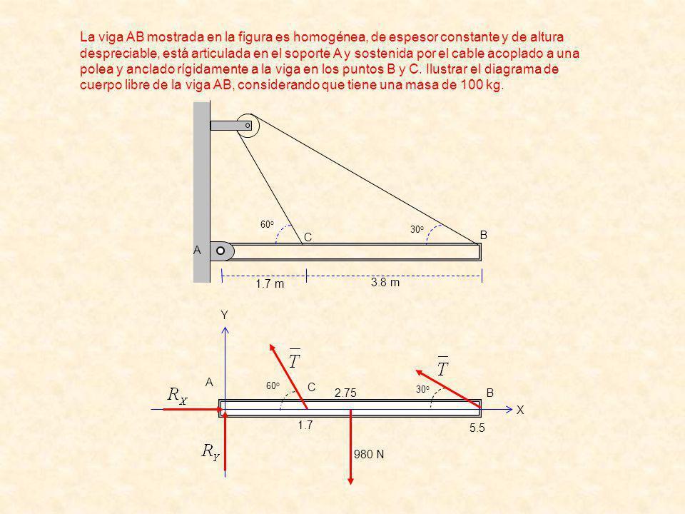 La viga AB mostrada en la figura es homogénea, de espesor constante y de altura despreciable, está articulada en el soporte A y sostenida por el cable acoplado a una polea y anclado rígidamente a la viga en los puntos B y C. Ilustrar el diagrama de cuerpo libre de la viga AB, considerando que tiene una masa de 100 kg.