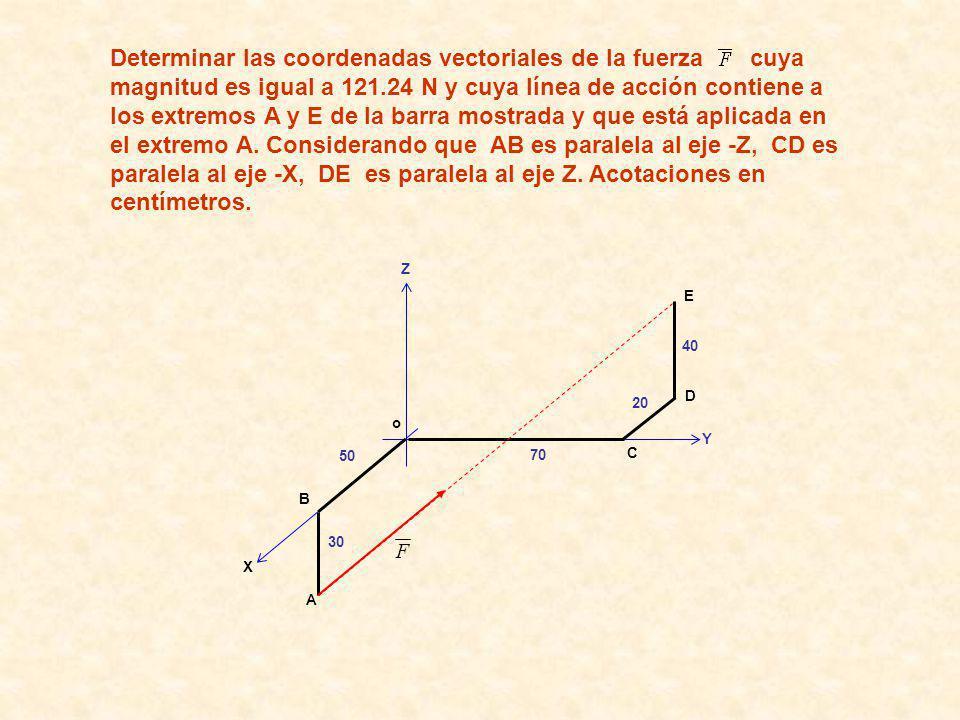 Determinar las coordenadas vectoriales de la fuerza cuya magnitud es igual a 121.24 N y cuya línea de acción contiene a los extremos A y E de la barra mostrada y que está aplicada en el extremo A. Considerando que AB es paralela al eje -Z, CD es paralela al eje -X, DE es paralela al eje Z. Acotaciones en centímetros.