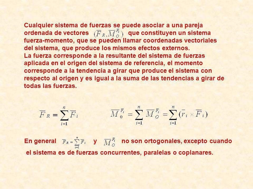 Cualquier sistema de fuerzas se puede asociar a una pareja ordenada de vectores que constituyen un sistema fuerza-momento, que se pueden llamar coordenadas vectoriales del sistema, que produce los mismos efectos externos.
