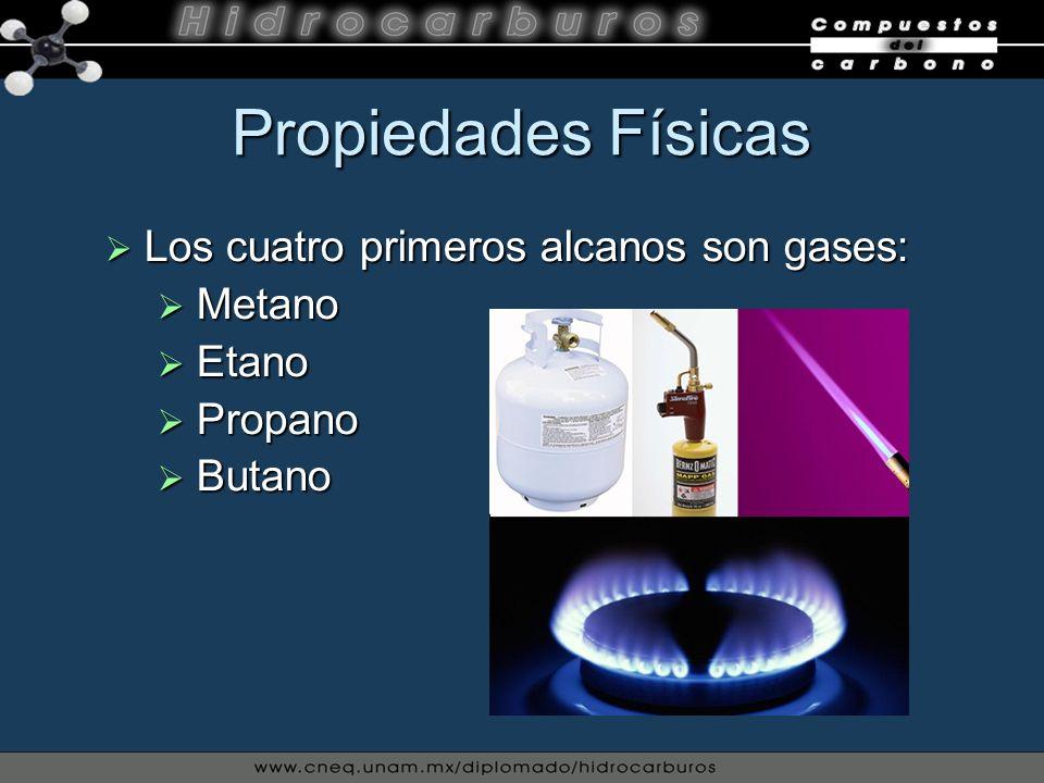 Propiedades Físicas Los cuatro primeros alcanos son gases: Metano