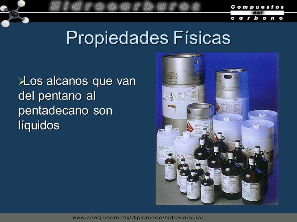 Propiedades Físicas Los alcanos que van del pentano al pentadecano son líquidos