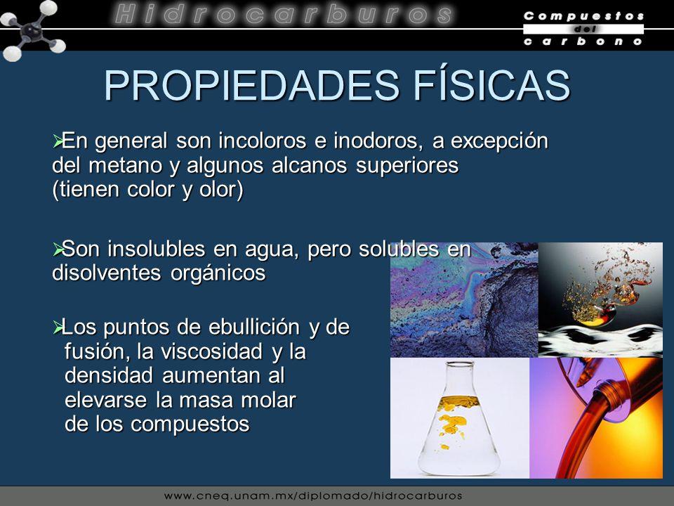 PROPIEDADES FÍSICAS En general son incoloros e inodoros, a excepción del metano y algunos alcanos superiores (tienen color y olor)