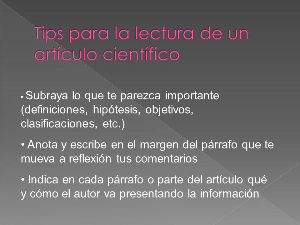 Tips para la lectura de un artículo científico