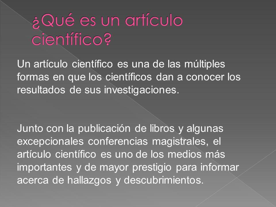 ¿Qué es un artículo científico