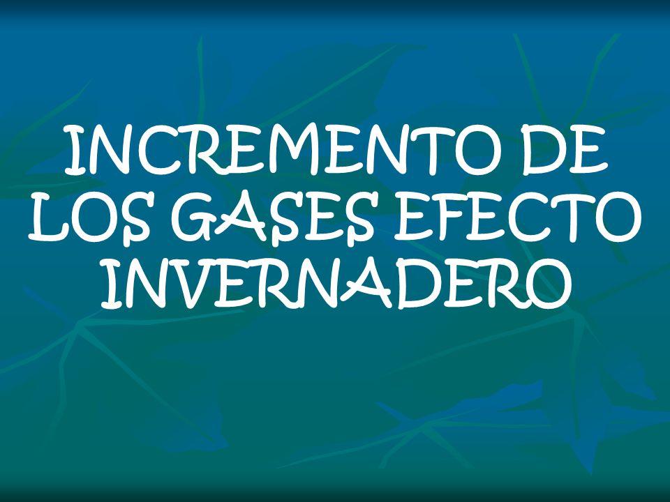 INCREMENTO DE LOS GASES EFECTO INVERNADERO