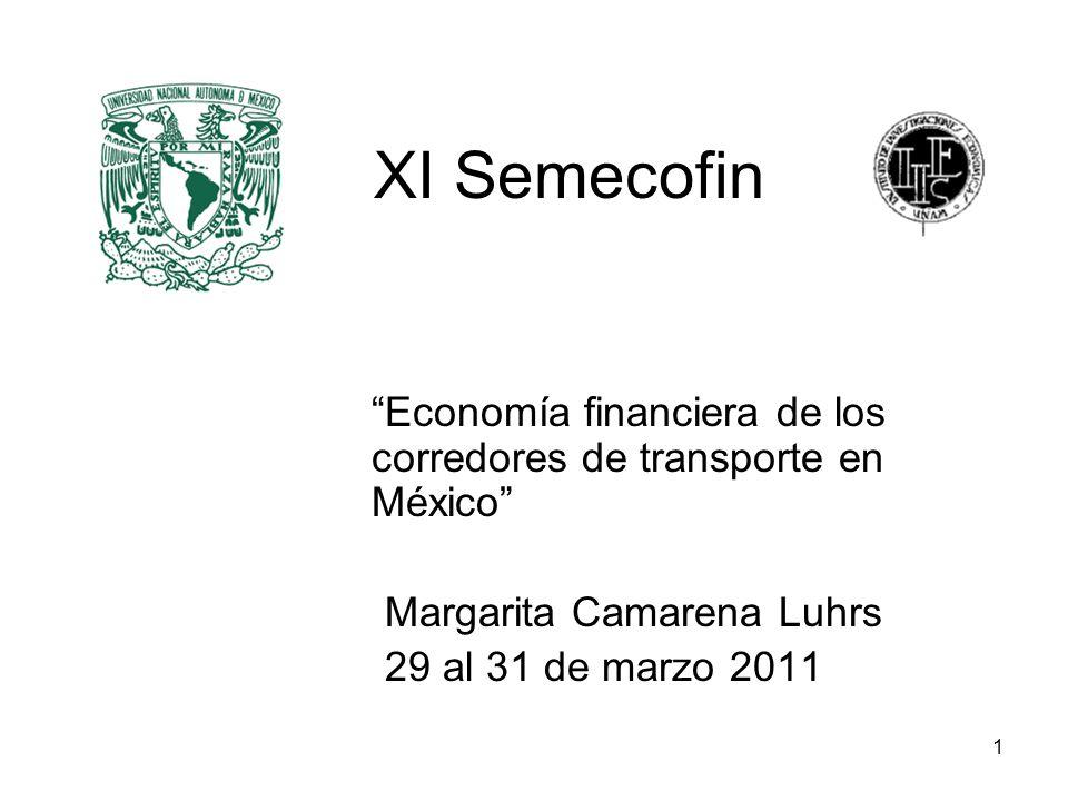 XI Semecofin Economía financiera de los corredores de transporte en México Margarita Camarena Luhrs.