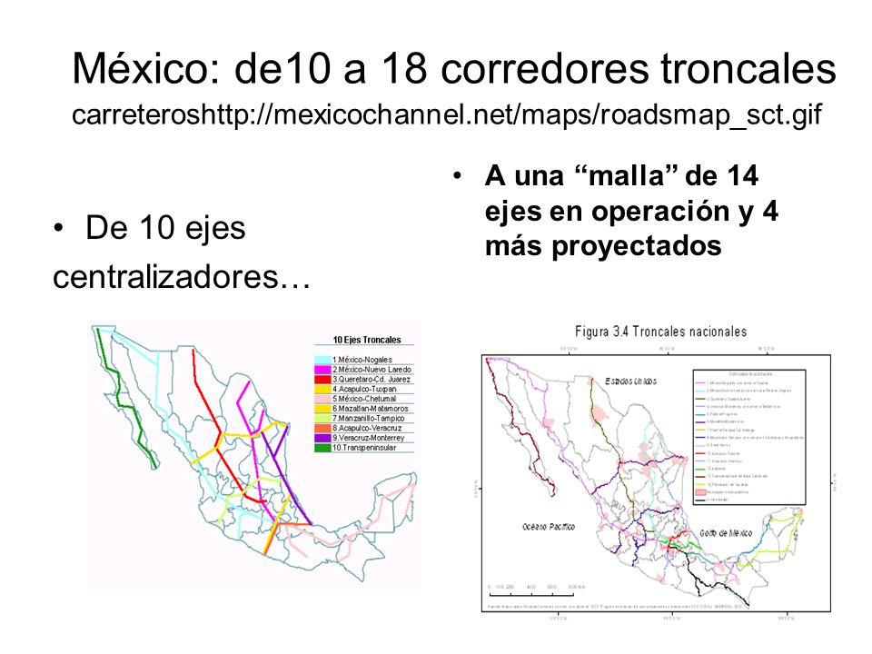 México: de10 a 18 corredores troncales carreteroshttp://mexicochannel