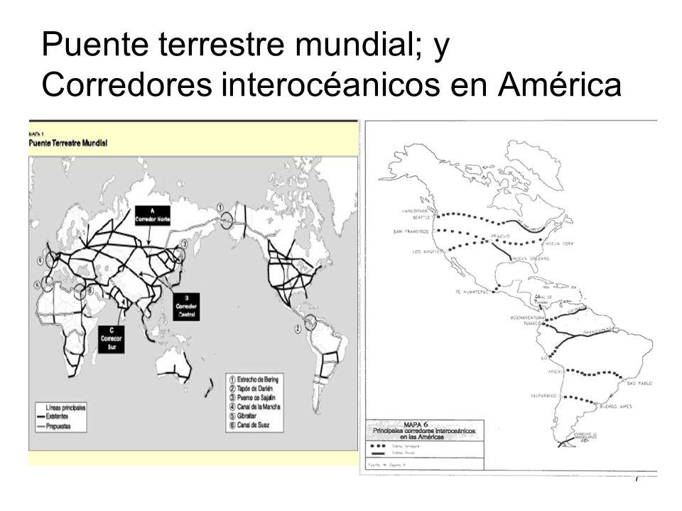 Puente terrestre mundial; y Corredores interocéanicos en América
