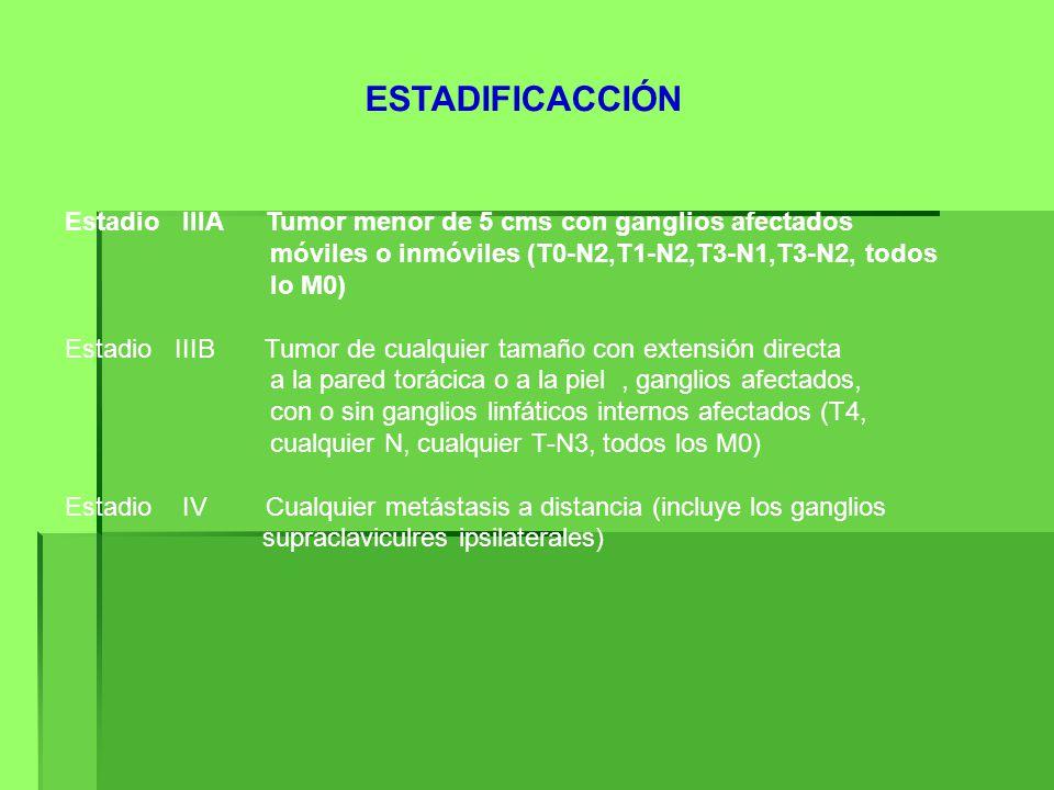 ESTADIFICACCIÓN Estadio IIIA Tumor menor de 5 cms con ganglios afectados. móviles o inmóviles (T0-N2,T1-N2,T3-N1,T3-N2, todos.
