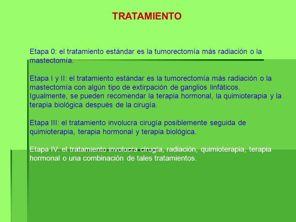 TRATAMIENTO Etapa 0: el tratamiento estándar es la tumorectomía más radiación o la. mastectomía.