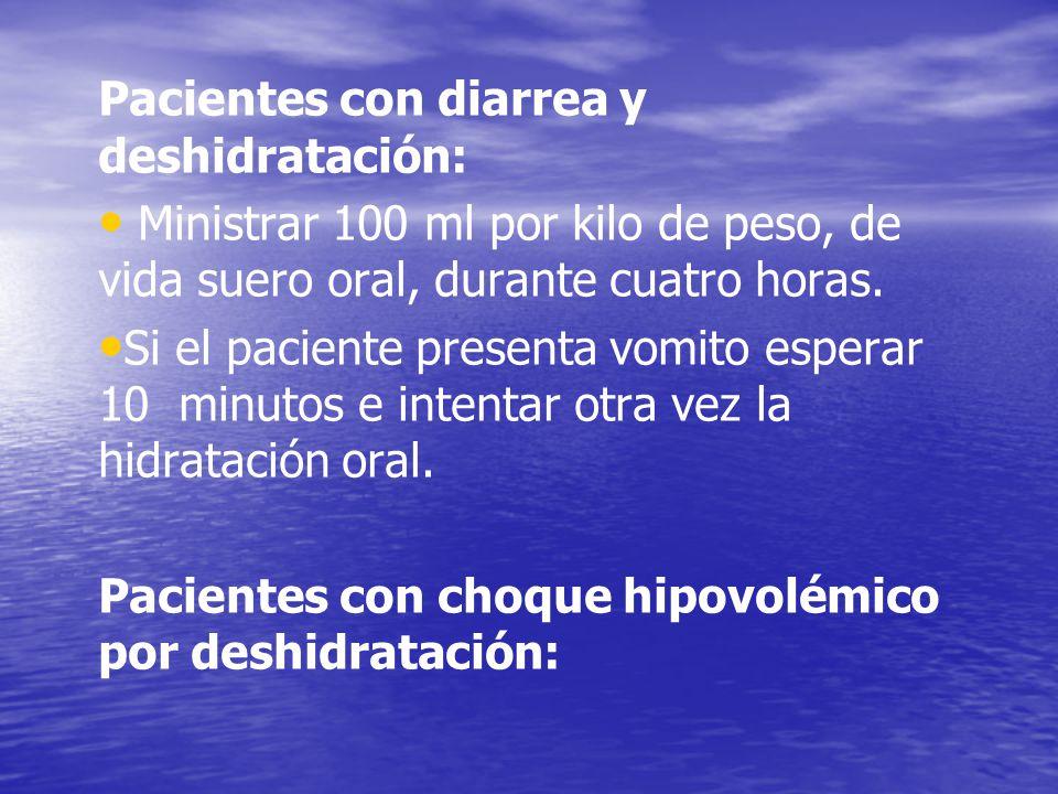 Pacientes con diarrea y deshidratación: