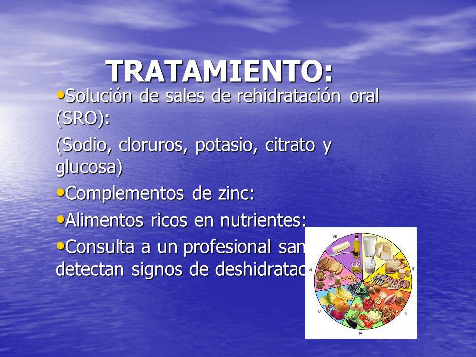 TRATAMIENTO: Solución de sales de rehidratación oral (SRO):