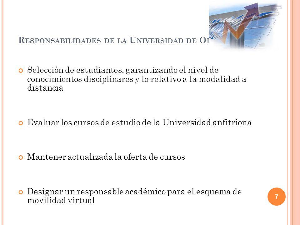 Responsabilidades de la Universidad de Origen