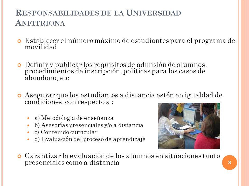 Responsabilidades de la Universidad Anfitriona