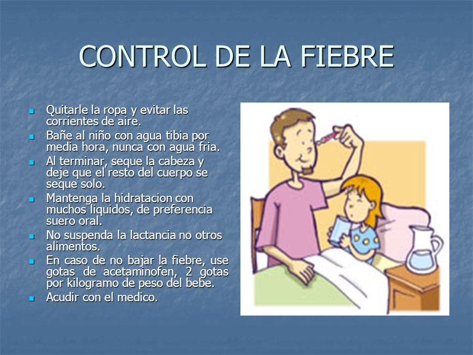 CONTROL DE LA FIEBRE Quitarle la ropa y evitar las corrientes de aire.