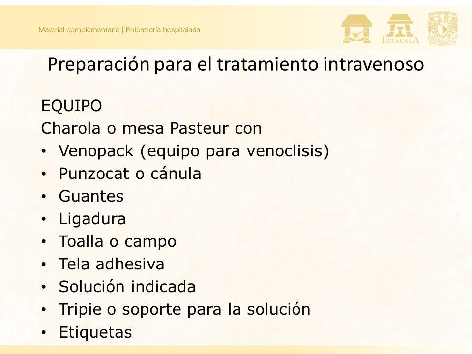 Preparación para el tratamiento intravenoso