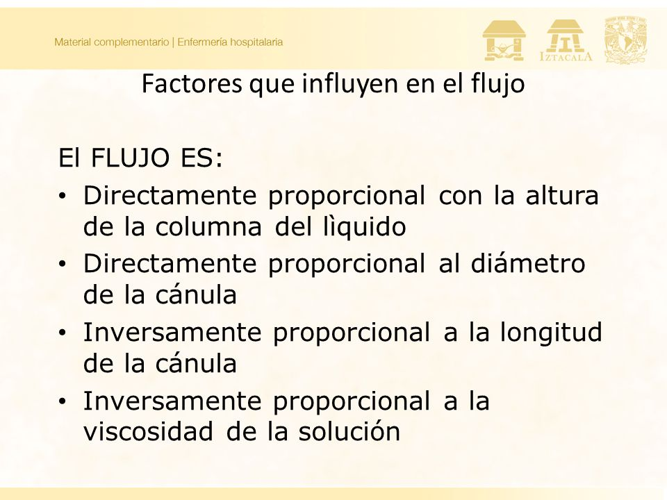 Factores que influyen en el flujo