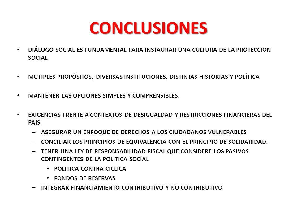 CONCLUSIONES DIÁLOGO SOCIAL ES FUNDAMENTAL PARA INSTAURAR UNA CULTURA DE LA PROTECCION SOCIAL.