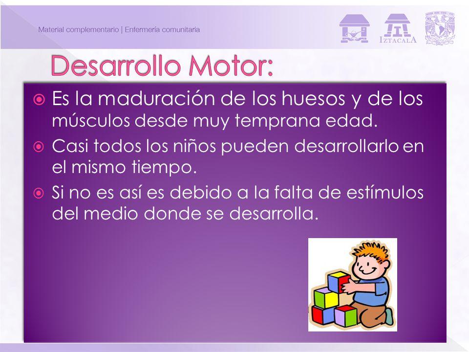Desarrollo Motor: Es la maduración de los huesos y de los músculos desde muy temprana edad.