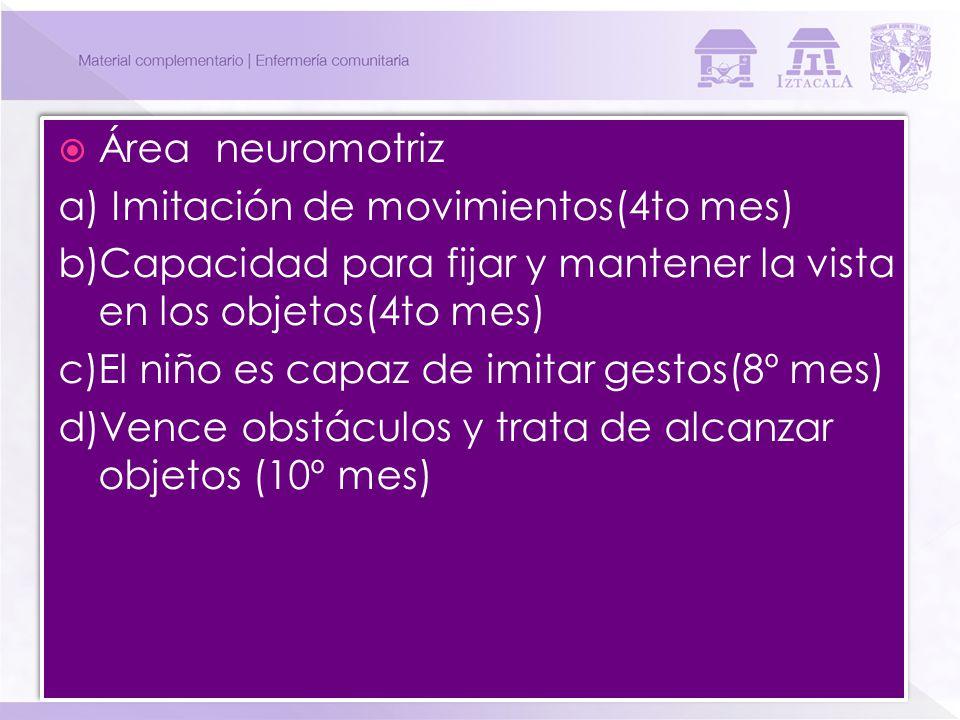 Área neuromotriz a) Imitación de movimientos(4to mes) b)Capacidad para fijar y mantener la vista en los objetos(4to mes)