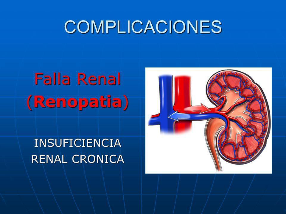 COMPLICACIONES Falla Renal (Renopatia) INSUFICIENCIA RENAL CRONICA