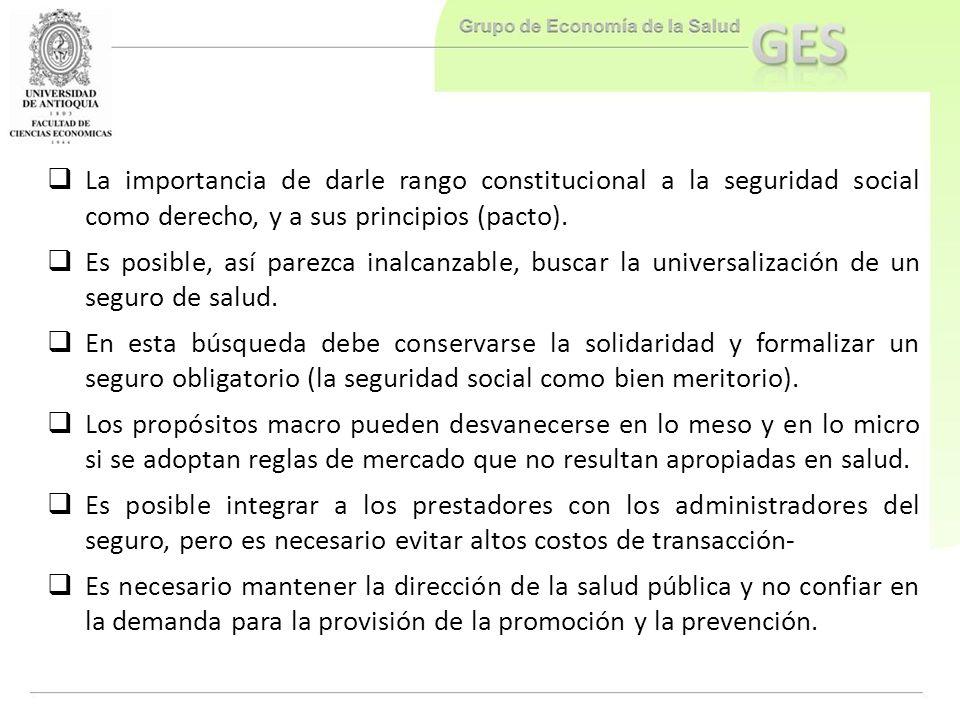 La importancia de darle rango constitucional a la seguridad social como derecho, y a sus principios (pacto).