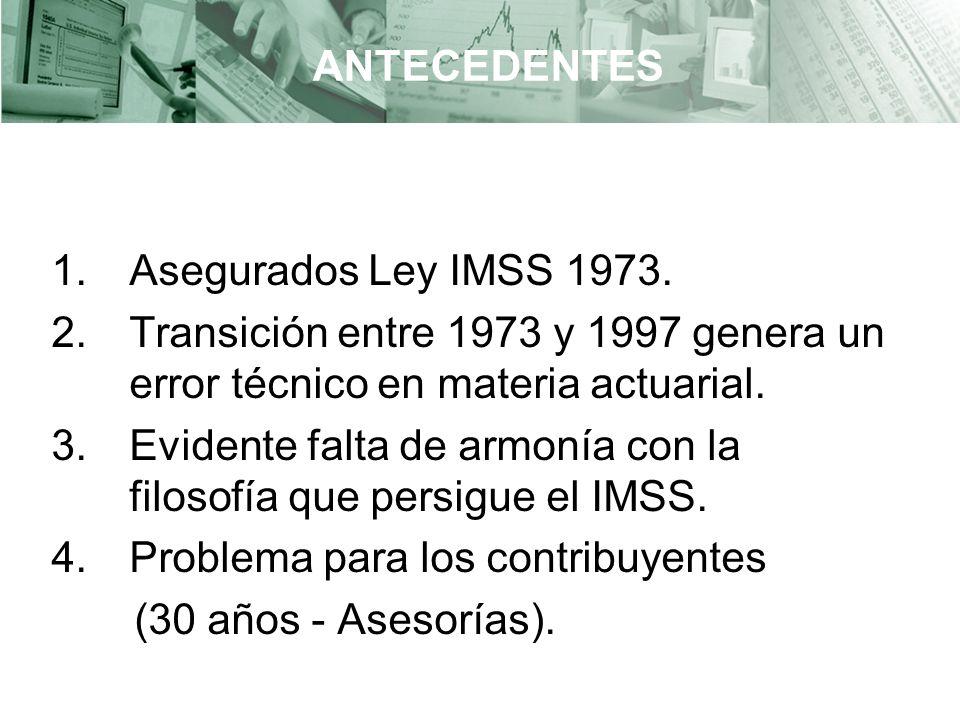 ANTECEDENTES Asegurados Ley IMSS 1973. Transición entre 1973 y 1997 genera un error técnico en materia actuarial.