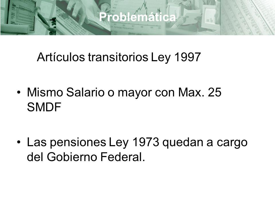 Problemática Artículos transitorios Ley 1997. Mismo Salario o mayor con Max.