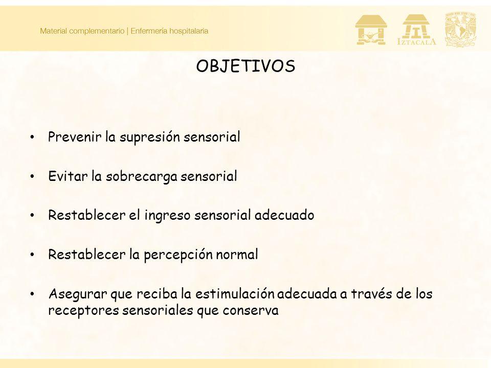 OBJETIVOS Prevenir la supresión sensorial