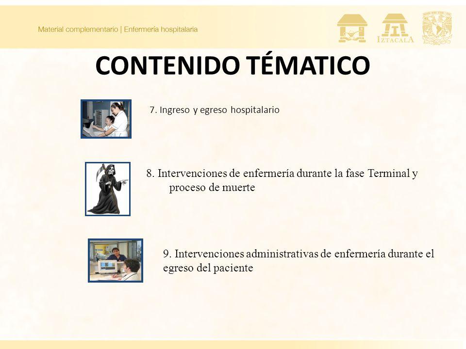 CONTENIDO TÉMATICO 7. Ingreso y egreso hospitalario. 8. Intervenciones de enfermería durante la fase Terminal y proceso de muerte.