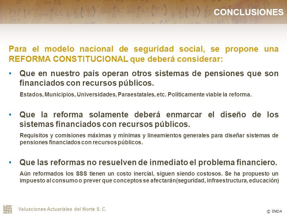 CONCLUSIONES Para el modelo nacional de seguridad social, se propone una REFORMA CONSTITUCIONAL que deberá considerar: