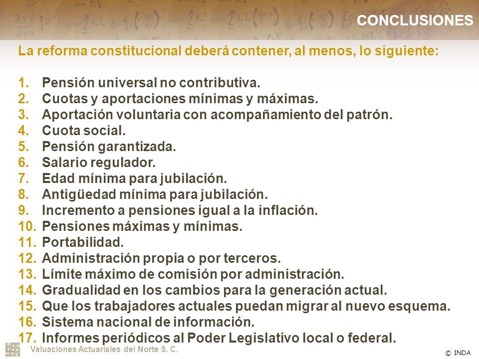 CONCLUSIONES La reforma constitucional deberá contener, al menos, lo siguiente: Pensión universal no contributiva.