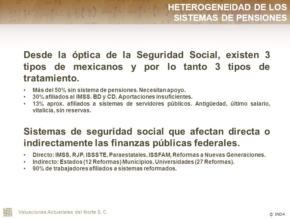 HETEROGENEIDAD DE LOS SISTEMAS DE PENSIONES
