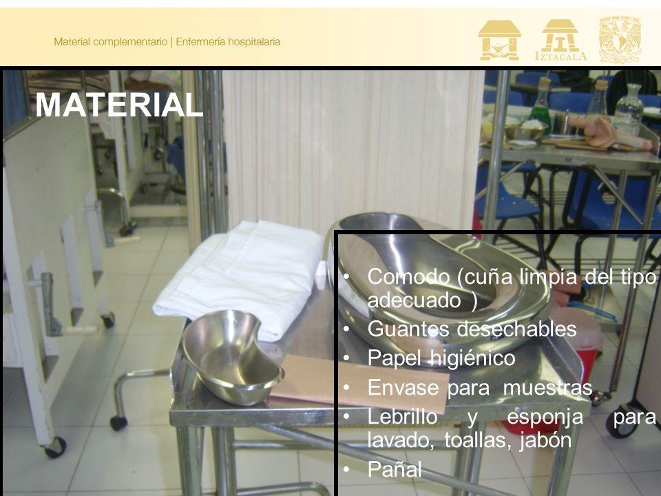 MATERIAL Comodo (cuña limpia del tipo adecuado ) Guantes desechables