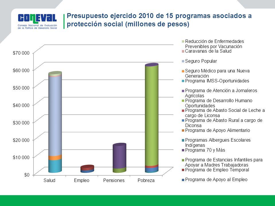 Presupuesto ejercido 2010 de 15 programas asociados a protección social (millones de pesos)