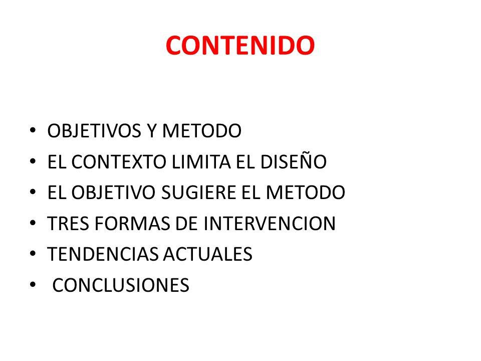 CONTENIDO OBJETIVOS Y METODO EL CONTEXTO LIMITA EL DISEÑO