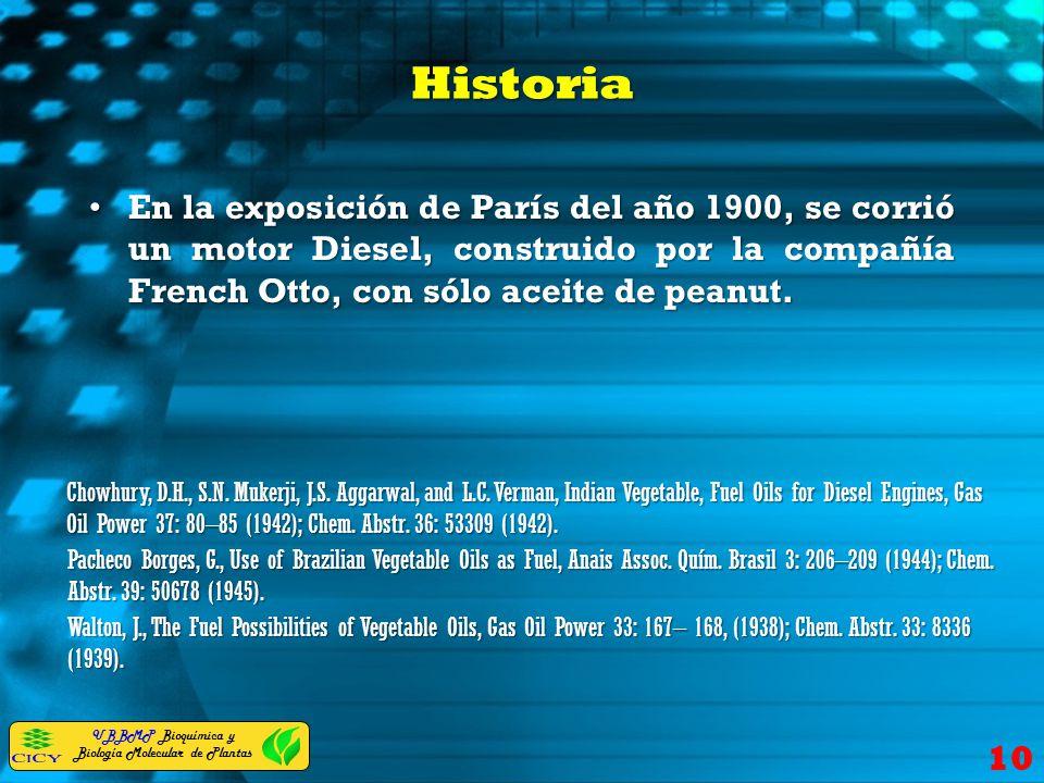 Historia En la exposición de París del año 1900, se corrió un motor Diesel, construido por la compañía French Otto, con sólo aceite de peanut.