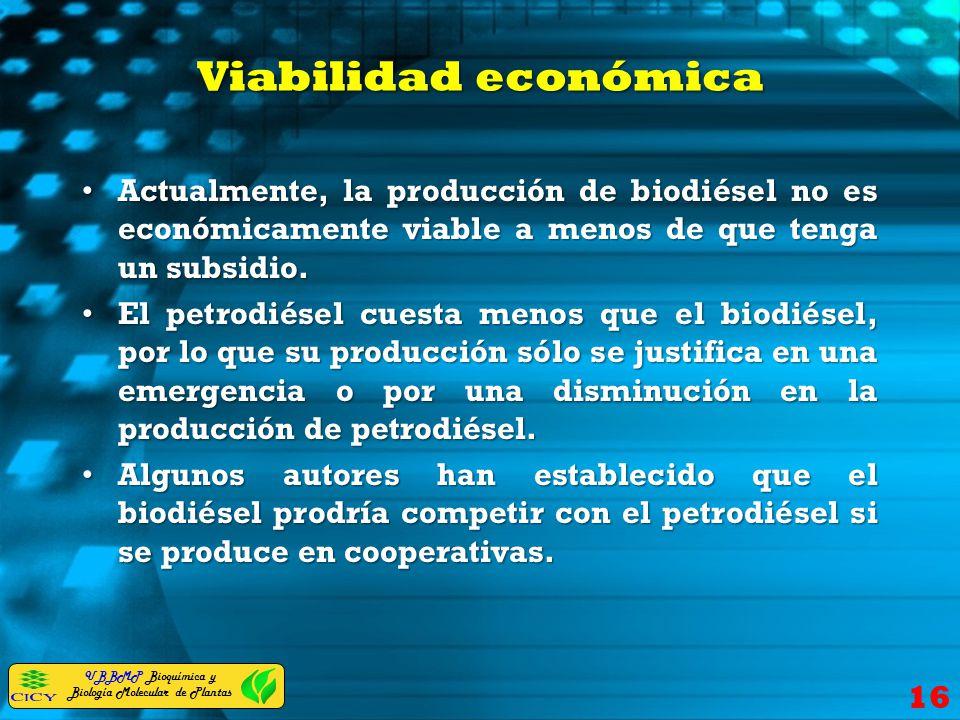 Viabilidad económica Actualmente, la producción de biodiésel no es económicamente viable a menos de que tenga un subsidio.