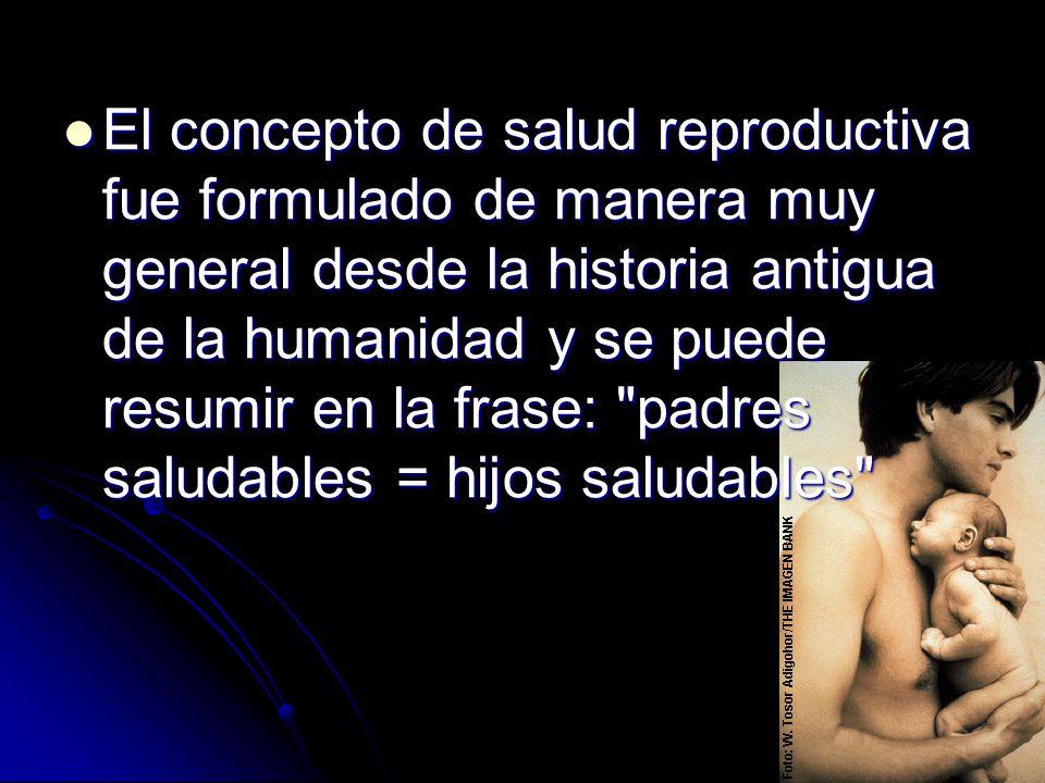 El concepto de salud reproductiva fue formulado de manera muy general desde la historia antigua de la humanidad y se puede resumir en la frase: padres saludables = hijos saludables
