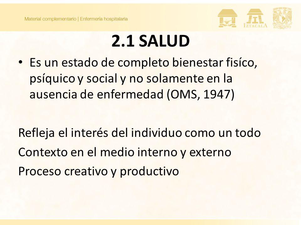 2.1 SALUD Es un estado de completo bienestar fisíco, psíquico y social y no solamente en la ausencia de enfermedad (OMS, 1947)